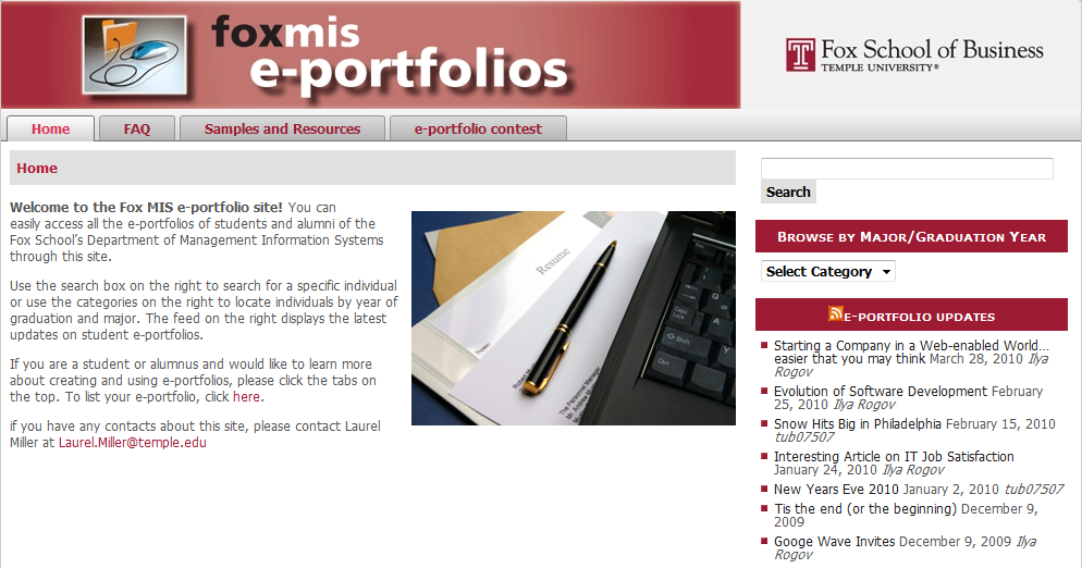 Portfolio Points: e-Portfolio Listed with MIS Department