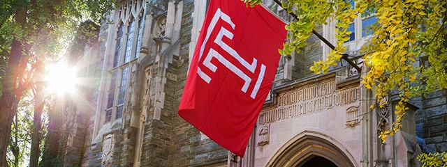 temple building and flag