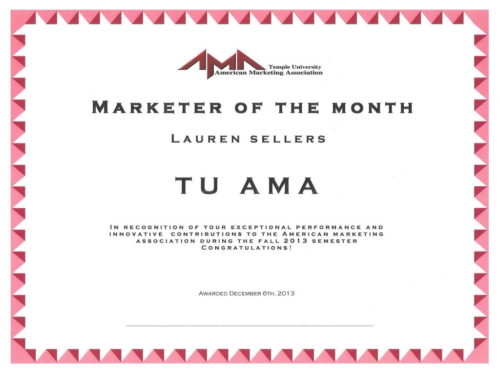 TU-AMA Marketer of the Month Award – Lauren Sellers
