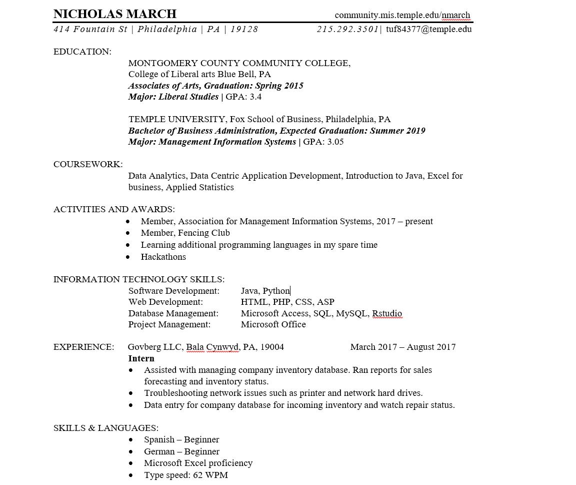 Resume Nicholas March