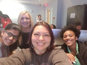 "Myself and fellow Temple student Laura Blaszczyk taking a ""selfie"" with our amazing girls! I couldn't keep up with how fast these young ladies caught onto to the concepts of mySQL!"